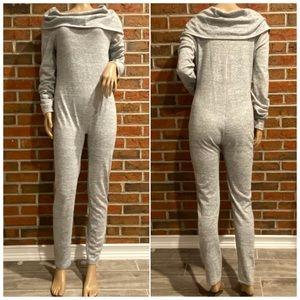 Fashion Nova Gray Cowl Neck Jumpsuit Size L
